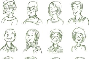 Hand Drawn Portraits Set