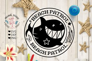 Shark Beach Patrol (SVG, DXF, PNG)