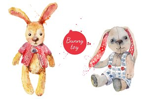 Watercolor Funny Bunny Set