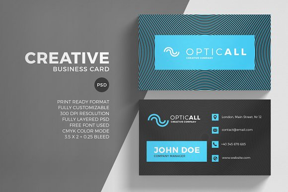 Blue Optical Business Card Template Business Card Templates - 35 x2 business card template
