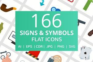 166 Signs & Symbols Flat Icons