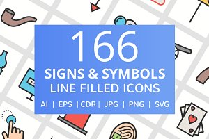 166 Signs & Symbols Filled Line Icon