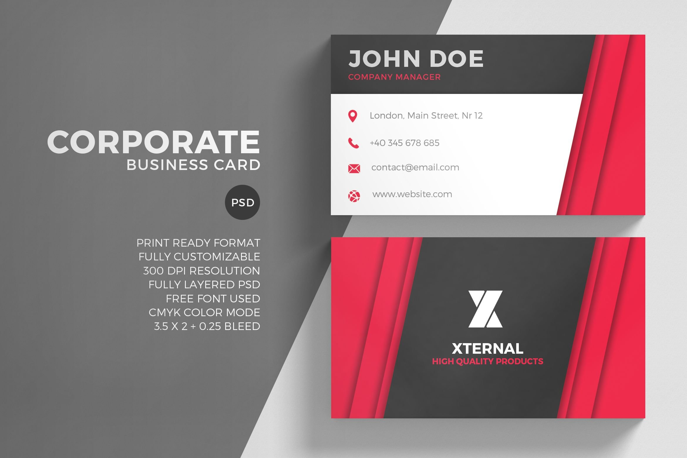 Corporate red business card business card templates creative market reheart Image collections