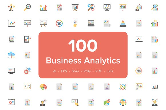 100 Business Analytics Flat Icons