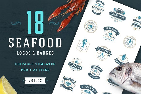 18 Seafood Logos Badges