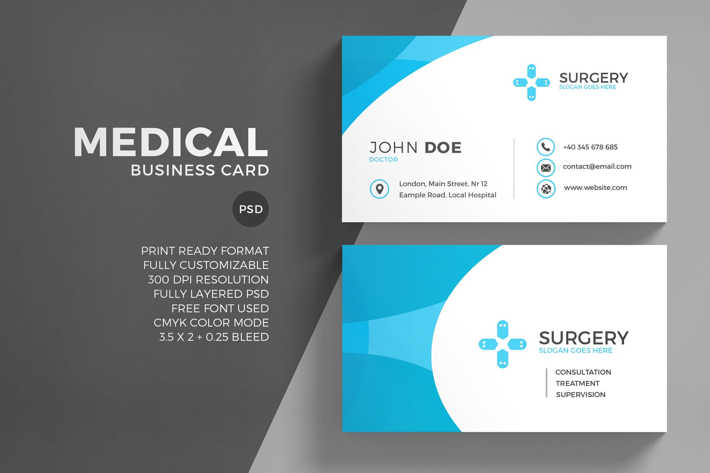 Medical corporate business card business card templates for Med cards template