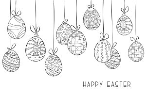Hand drawn Easter background, card