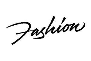 Fashion logo. Real brush texture