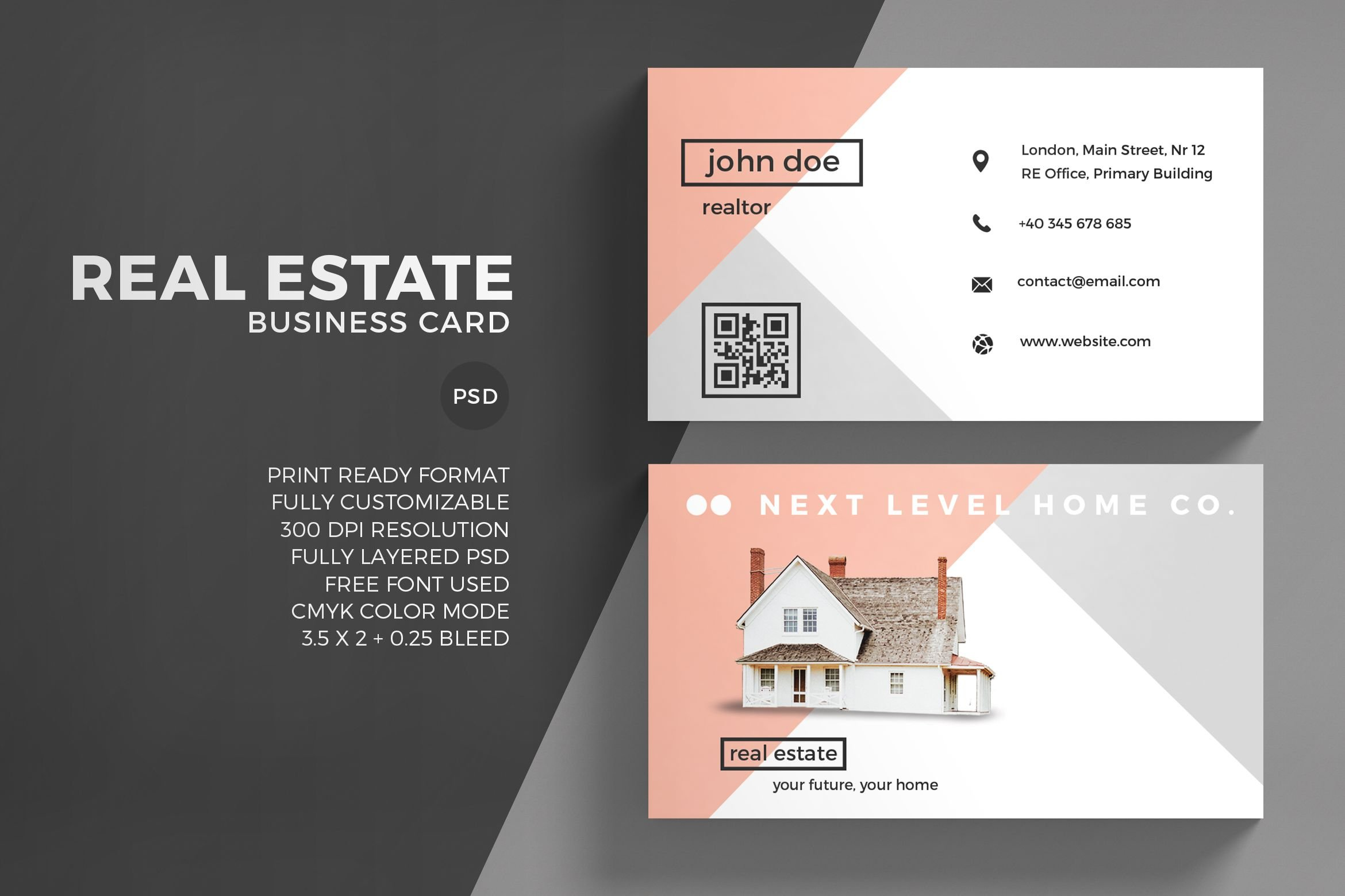 Real estate business card template business card templates real estate business card template business card templates creative market reheart Choice Image