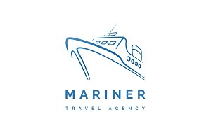 Ship and ferry services vector logo