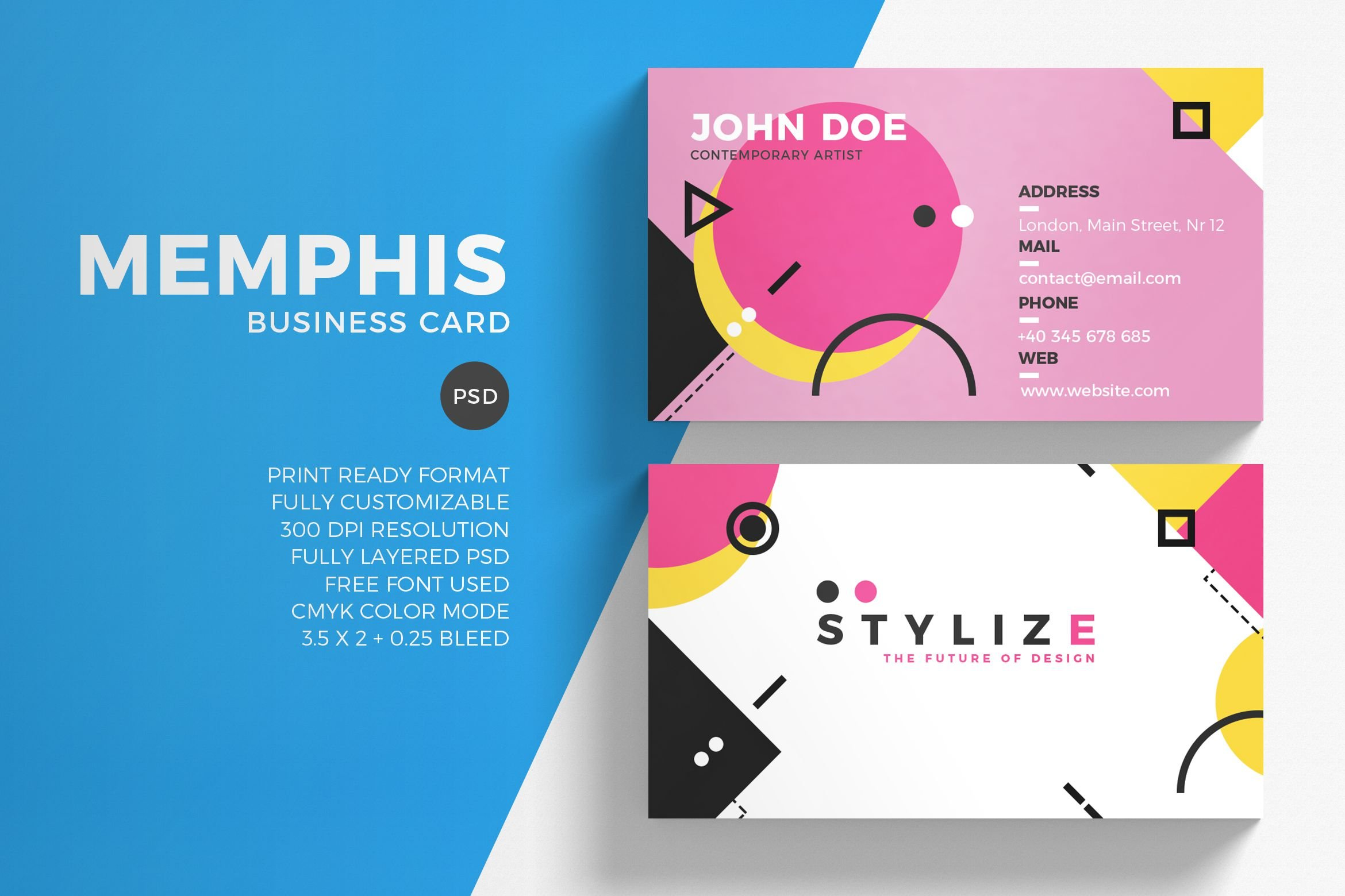 Memphis Business Card Template ~ Business Card Templates ~ Creative ...