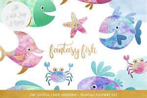 Fish & Sealife Clipart Set