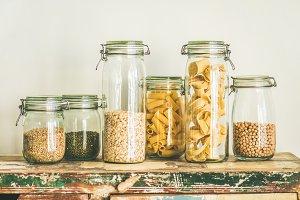 Uncooked cereals, grains, beans