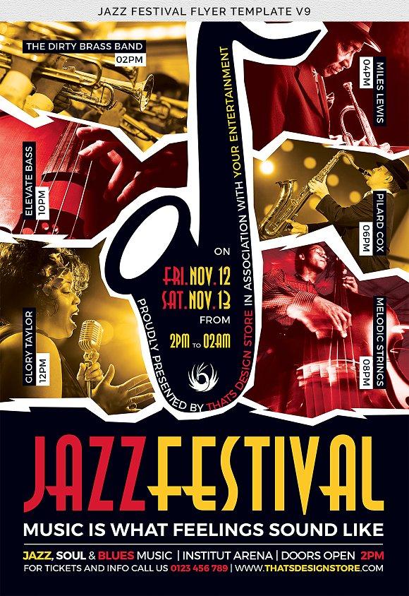 Jazz Festival Flyer Template V8 Flyer Templates Creative Market