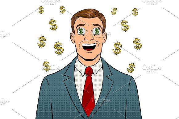 Businessman With Dollar Sign In Eyes Pop Art