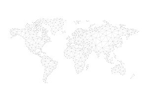 Blockchain polygon network world map isolated on white.