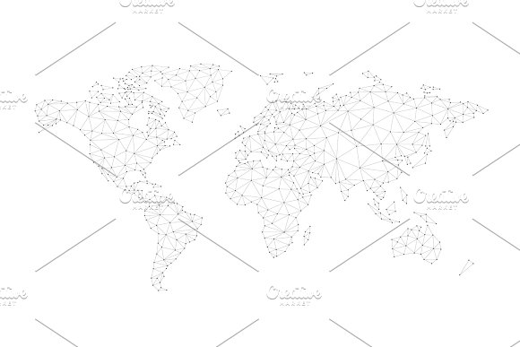 Blockchain Polygon Network World Map Isolated On White