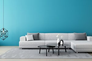Blue wall living room / 3D render