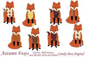 Autumn Fox Clip Art w/ Vectors