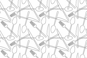 seamless pattern Fork, spoon, knife