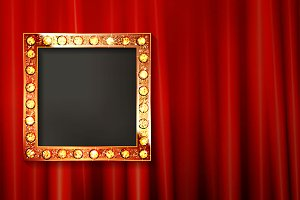 Vintage portrait frame on curtain