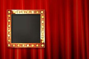 Vintage portrait frame on curtain