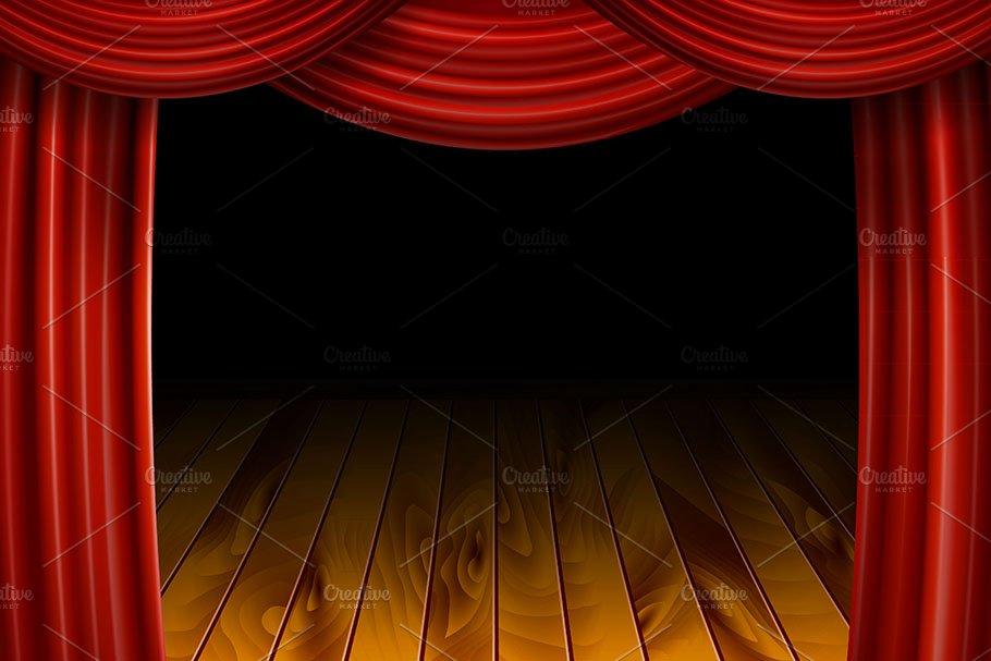 Open Red Velvet Movie Curtains Graphics Creative Market