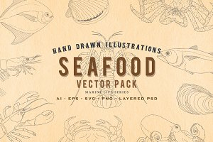 24 Hand Drawn Seafood Vector Set