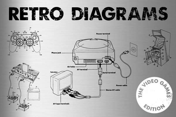 Retro Vector Diagrams - 32 Items
