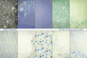 Periwinkle Blue Floral Digital Paper