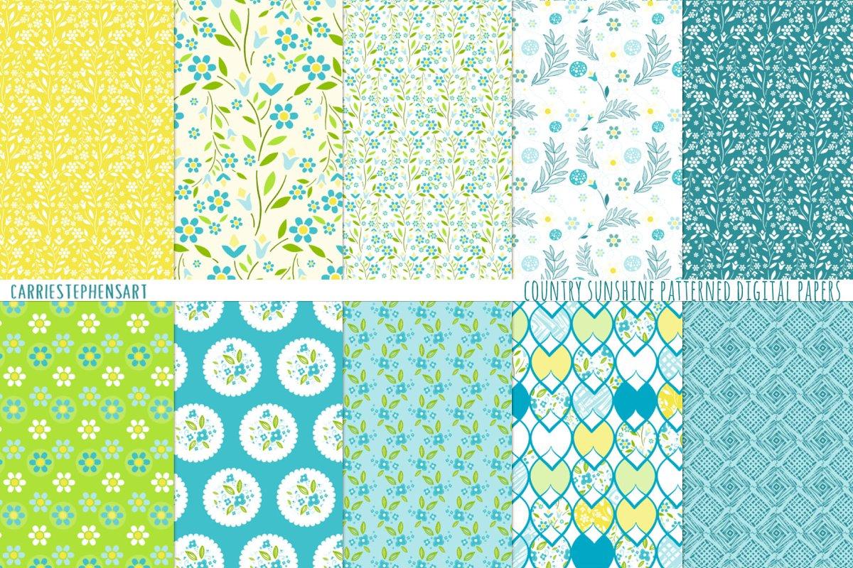 Country Flower Pattern Digital Paper