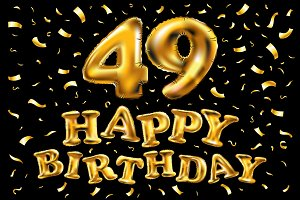 happy birthday 49 gold balloon