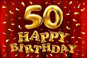 happy birthday 50 gold balloon