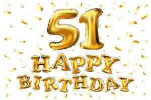 happy birthday 51 gold balloon