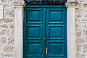old wooden green doors in Montenegro