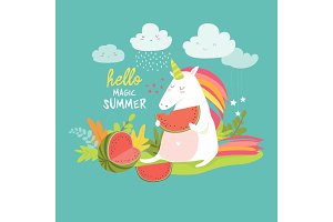 Cute unicorn with watermelon