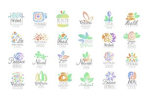 Welness, zen, yoga, herbal center, healthy food logo templates set of hand drawn watercolor vector Illustrations