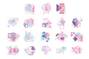Colorful geometric logo set, abstract elements vector Illustrations