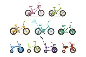 Various type of kids bikes set, colorful bicycles with different frame types vector Illustrations