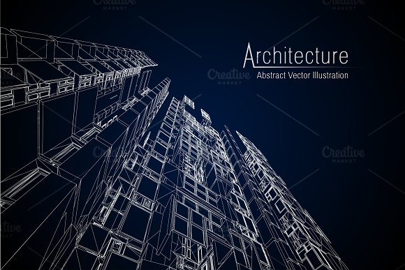 Modern Architecture Wireframe Concept Of Urban Wireframe Wireframe Building Illustration Of Architecture CAD Drawing