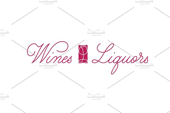 Wines And Liquors Handdrawn Logo