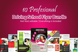 10 Learn Driving School Flyer Bundle