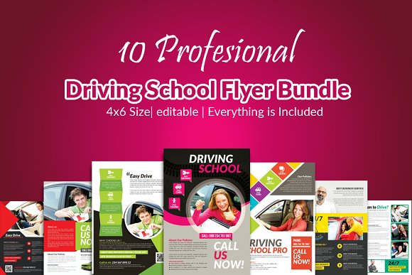 10 Learn Driving School Flyer Bundle