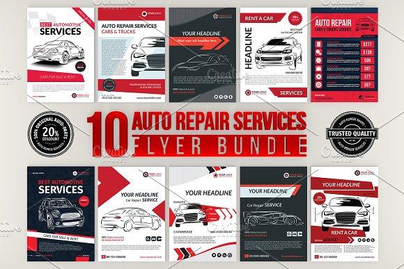 10 auto repair services flyer bundle flyer templates creative market