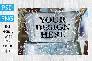 Metal Bucket Farm Design Mockup