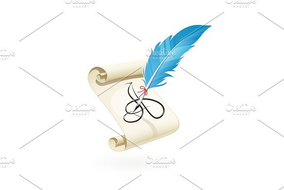 Feather Pen Write A Letter At Scroll