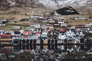 Colorful Village with Reflections
