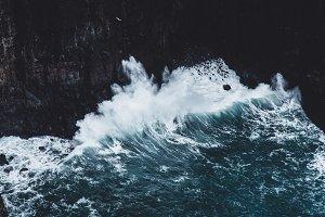 Powerful Waves Crashing on Coastline