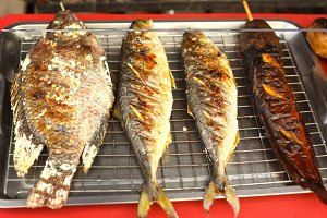 fresh grilled fish on tray for sale