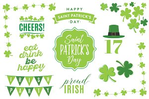 St. Patrick's Day Vector Text Set